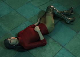 Ciara - Asleep on the floor of the Sphinx Temple 1 by Torqual3D