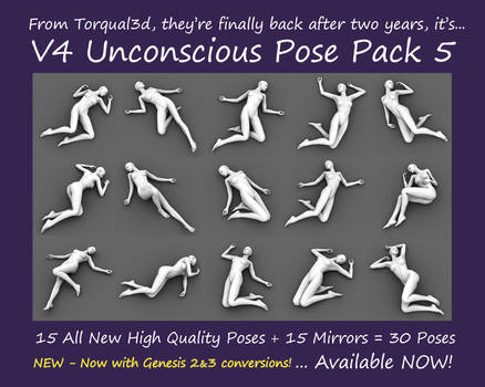 V4/G2/G3 Unconscious Pose Pack 5 Now Available