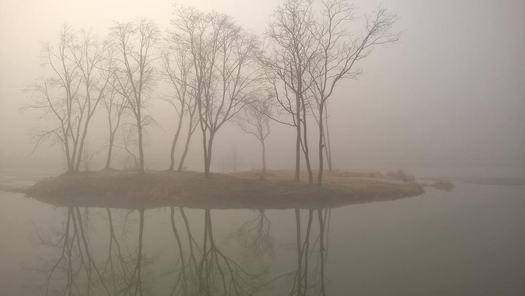 island in fog by MrMrsMouse