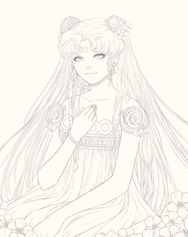 Princess Serenity [lineart] by Limei-chan