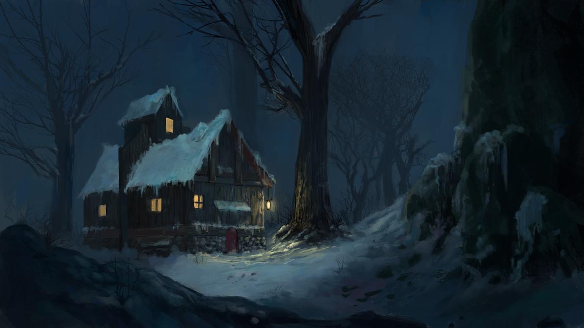 Snowy Cabin by gettheEpipen