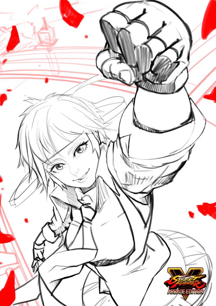 Sakura Street Fighter V Sketch by GDecy