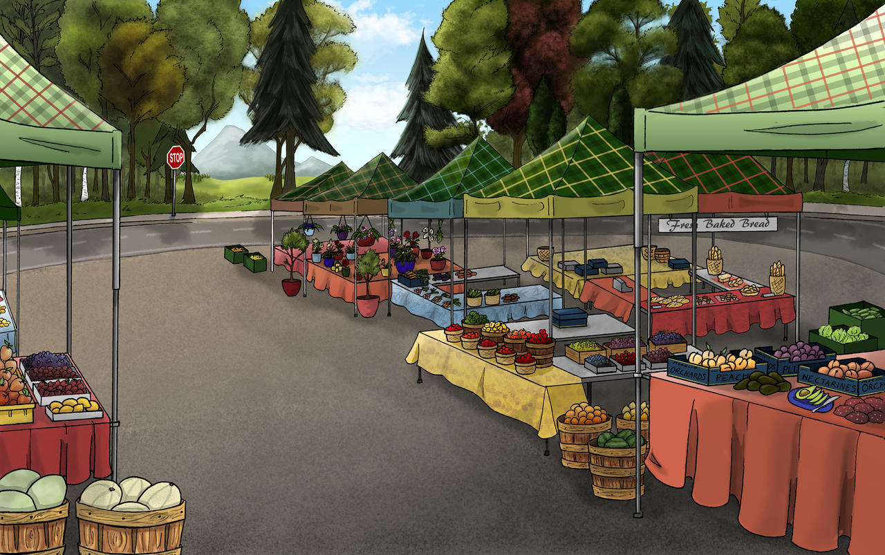 Background Commission Series Empty Farmers Market By