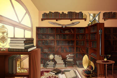 Background Commission Series - Bookstore by Shinobi-201