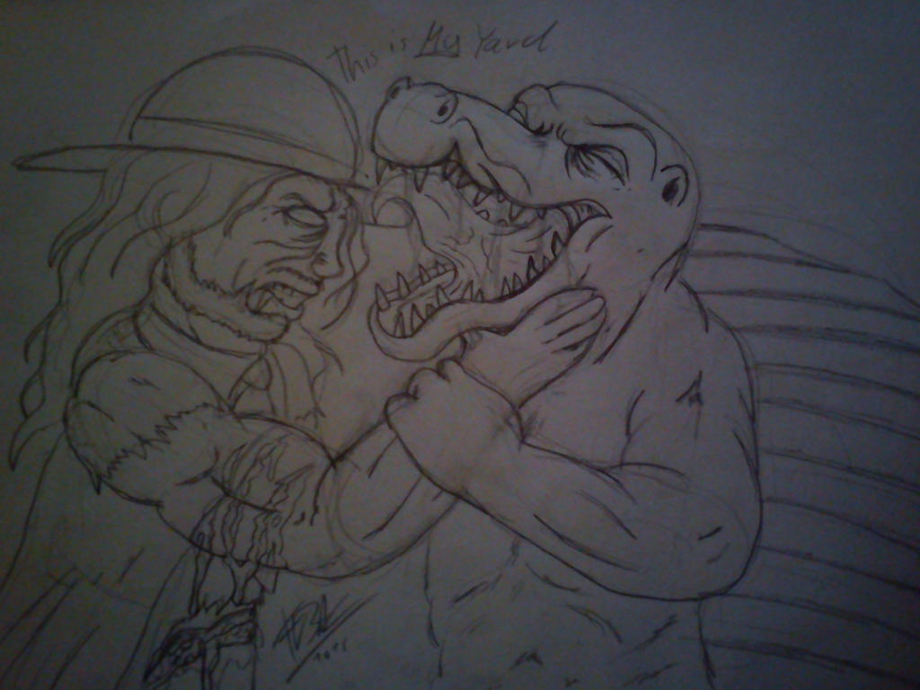 .:[DOODLE]UNDERTAKER VS MIGHTY FIGHTY DIMETRODON:. by Maniactheleader