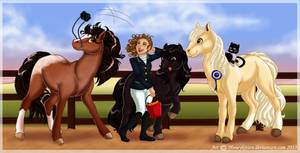 Commission: A rider and her Horses