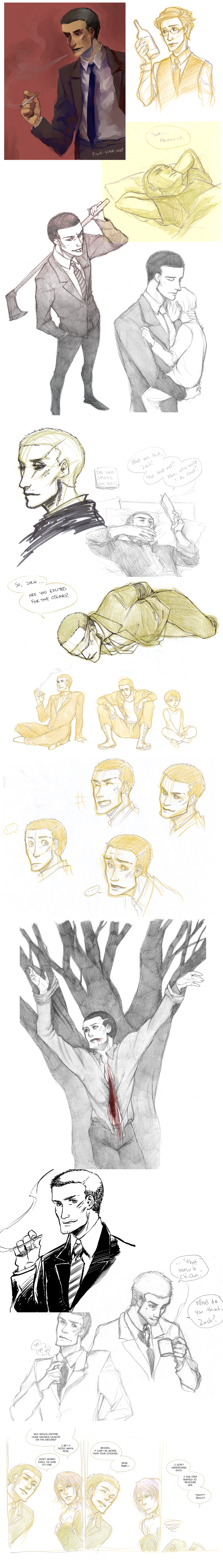 Deadly Premonition Sketchdump (contains spoilers) by nuu