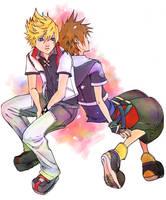 Kingdom Hearts - Roxas + Sora by nuu