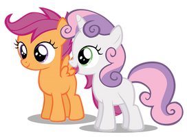 Sweetie Belle Happy And Scootaloo Smile by Hendro107