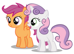 Sweetie Belle Happy And Scootaloo Smile