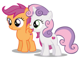 Sweetie Belle Happy And Scootaloo Smile (New) by Hendro107