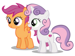 Sweetie Belle Happy And Scootaloo Smile (New)