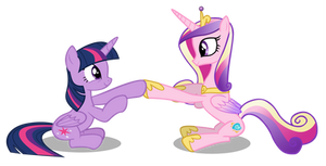 Twilight and Cadance Clap Their Hooves by Hendro107
