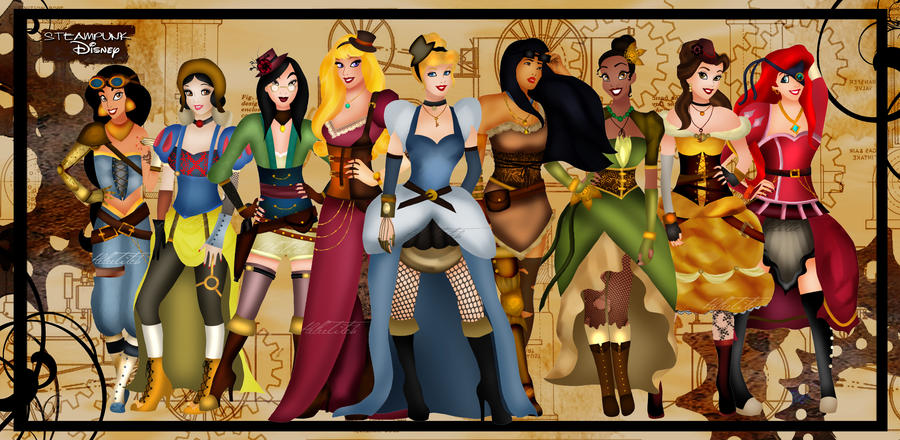 Steampunk Disney Princesses by HelleeTitch