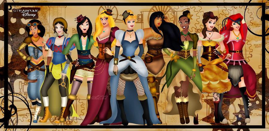 Steampunk Disney Princesses by HelleeTitch
