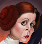 Carrie Fisher caricature as ( Princess Leia )