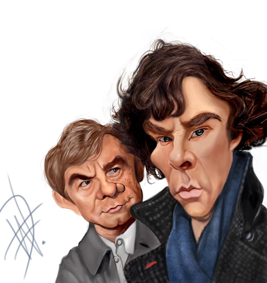 Cumberbatch and Freeman Caricature by du-har