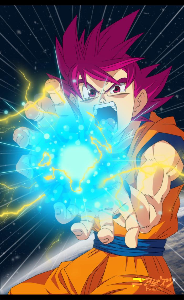 Goku ssj Dios_Kame hame ha! by FabianSM