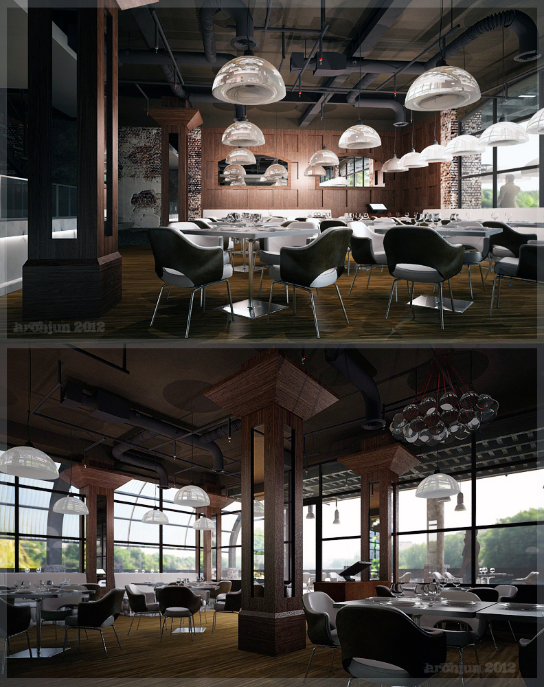 Industrial Interior Design: RESTAURANT INTERIOR (INDUSTRIAL DESIGN CONCEPT) By ARCHJUN