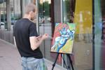Contemplating Street Artist