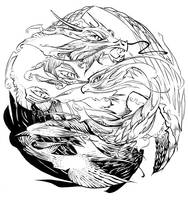 water dragon and phoenix by Kieshar
