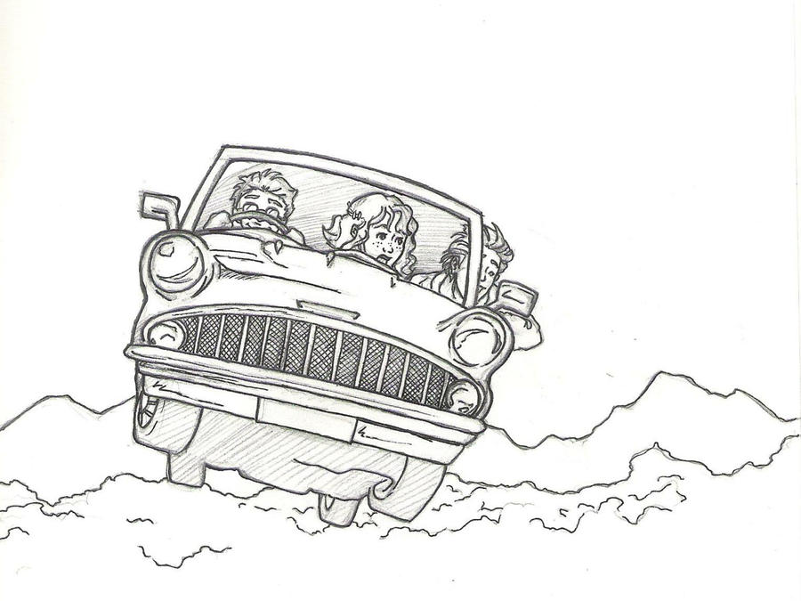 Ford Anglia Harry Potter And Ron Weasley Coloring Page