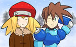 Megaman and Roll's Snowy Walk by GGkev