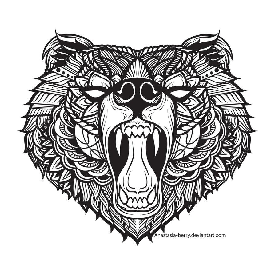 Line Drawing Of Bear Face : Black bear i by anastasia berry on deviantart