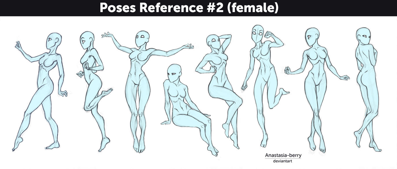 Poses Reference #2 (female) by Anastasia-berry on DeviantArt