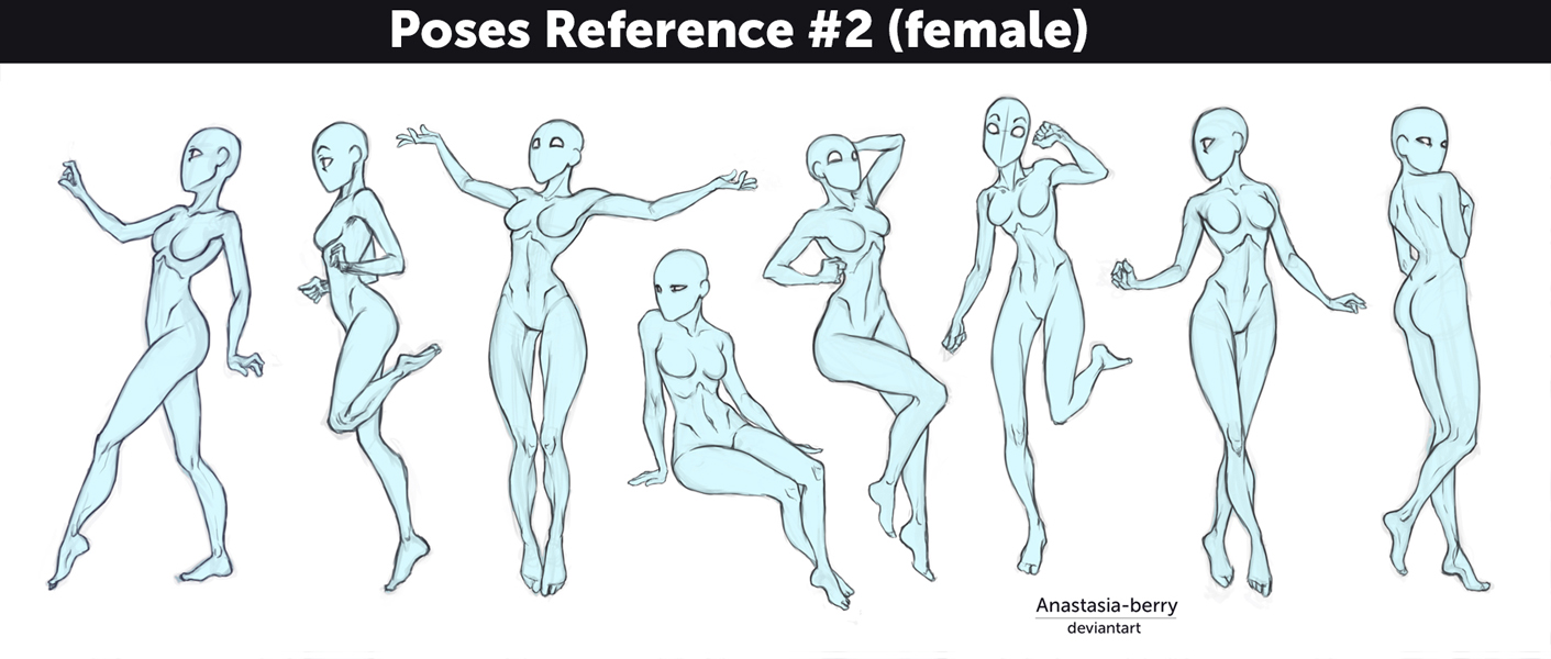 Poses reference 2 female by anastasia berry