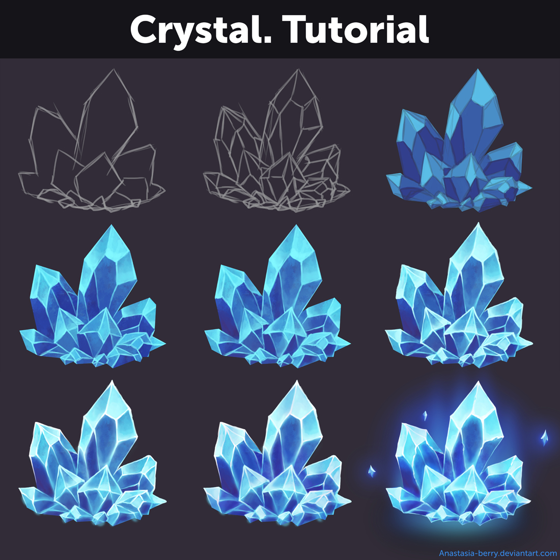 Crystal tutorial by anastasia berry on deviantart for Paintings of crystals