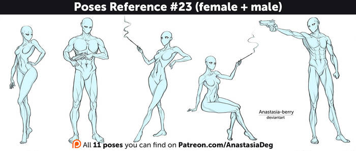 Poses Reference #23 (female + male)