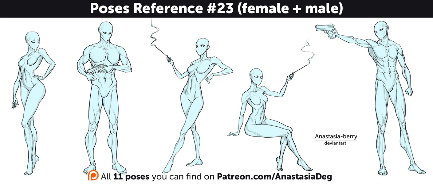 Poses Reference #23 (female + male) by Anastasia-berry on DeviantArt