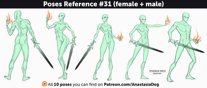 Poses Reference #31 (female + male)