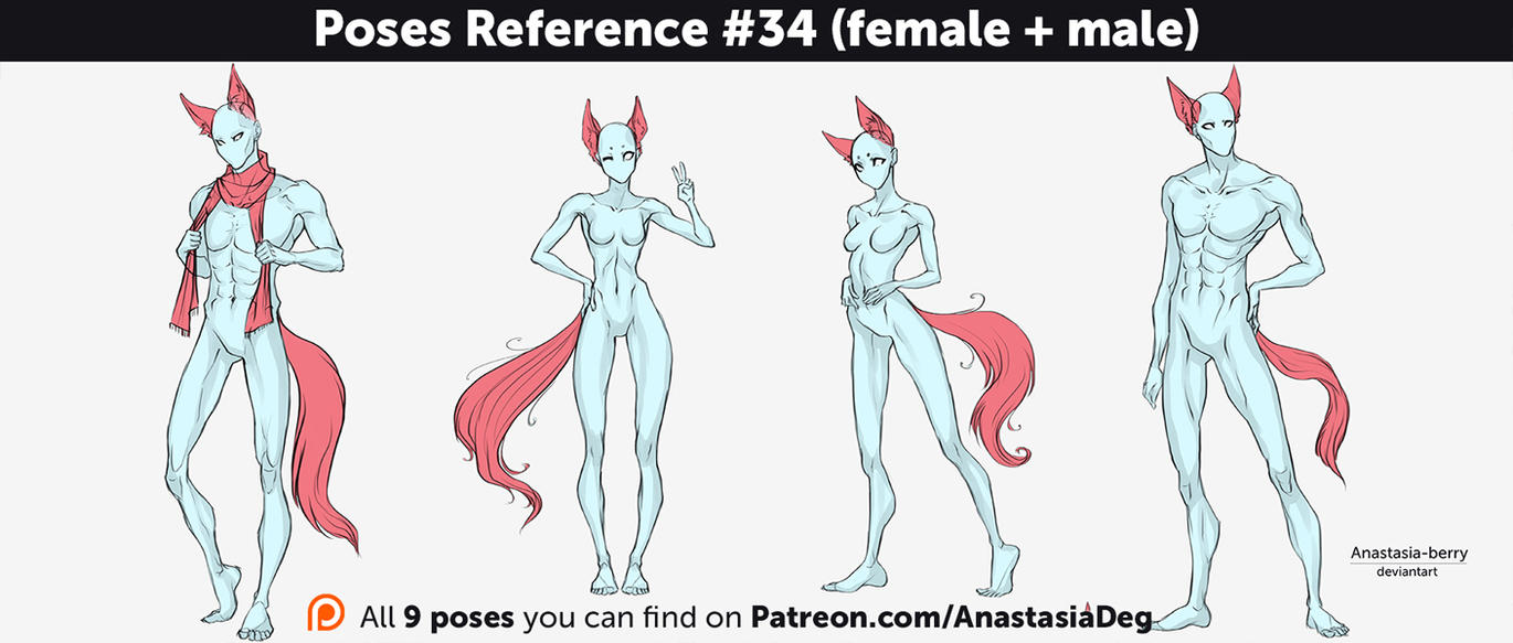 Poses Reference #34 (female + male) by Anastasia-berry on DeviantArt