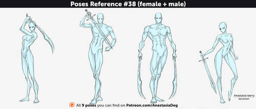 Poses Reference #38 (female + male) by Anastasia-berry