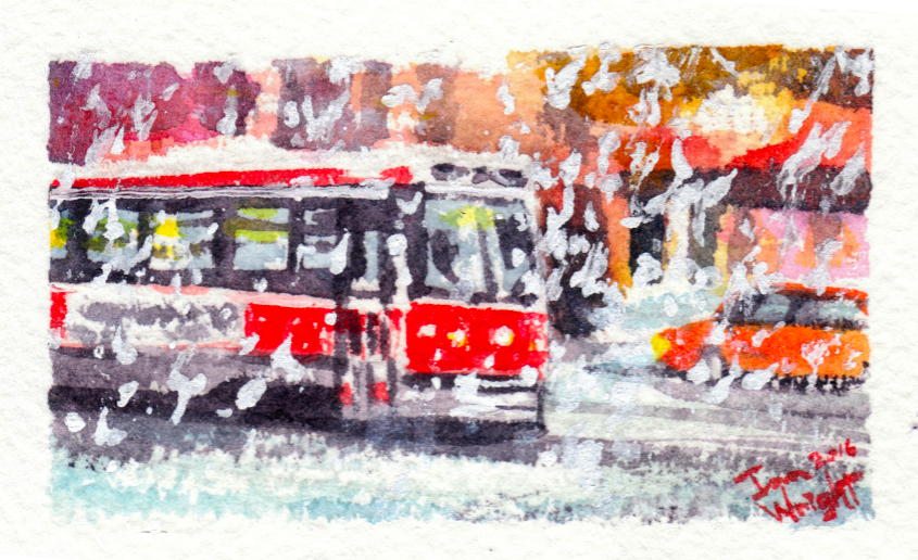 Streetcar in blizzard by Ian-Wright