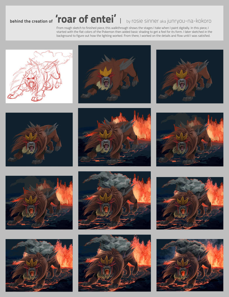 creating 'Roar of Entei' by Junryou-na-Kokoro