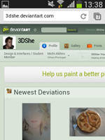I like to use deviantart in my smarphone by 3DShe