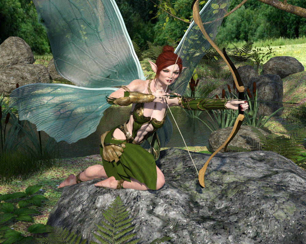 Caitlyn - Fairy Warrior-Archer Wings Open Pose2
