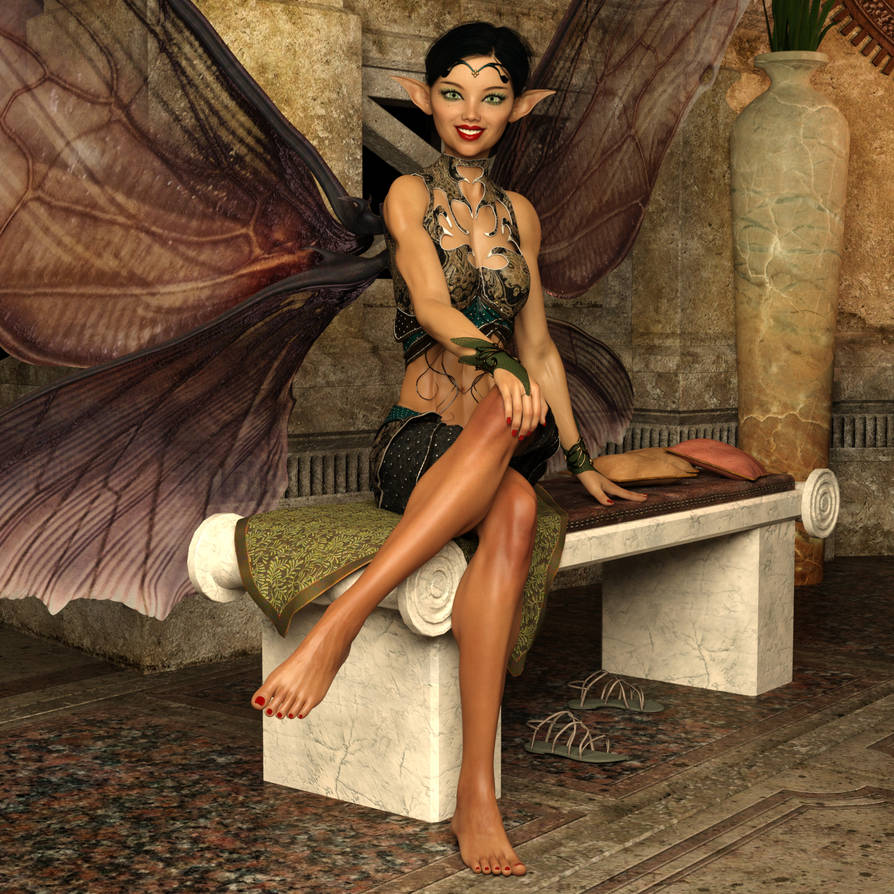 Dani - Sitting With Wings Open And Legs Crossed