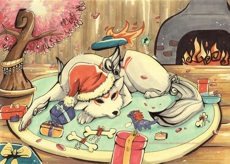 Christmas-Okami by Lulusama