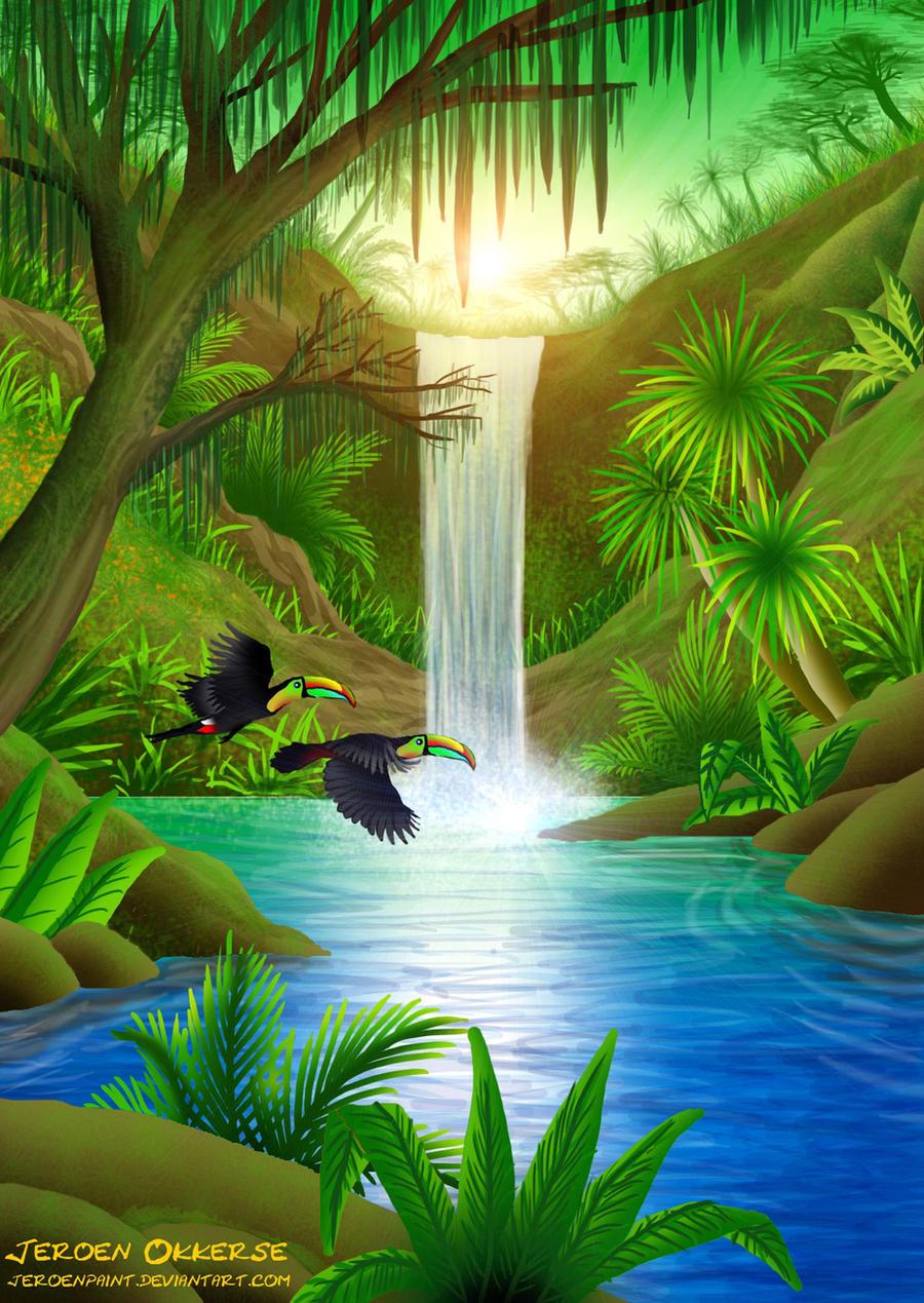 tropical falls by jeroenpaint on deviantart