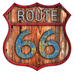Old Route 66 Painted Wood Sign #1