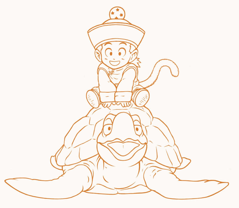 Son Gohan and turtle - lineart by MidoriNichirin