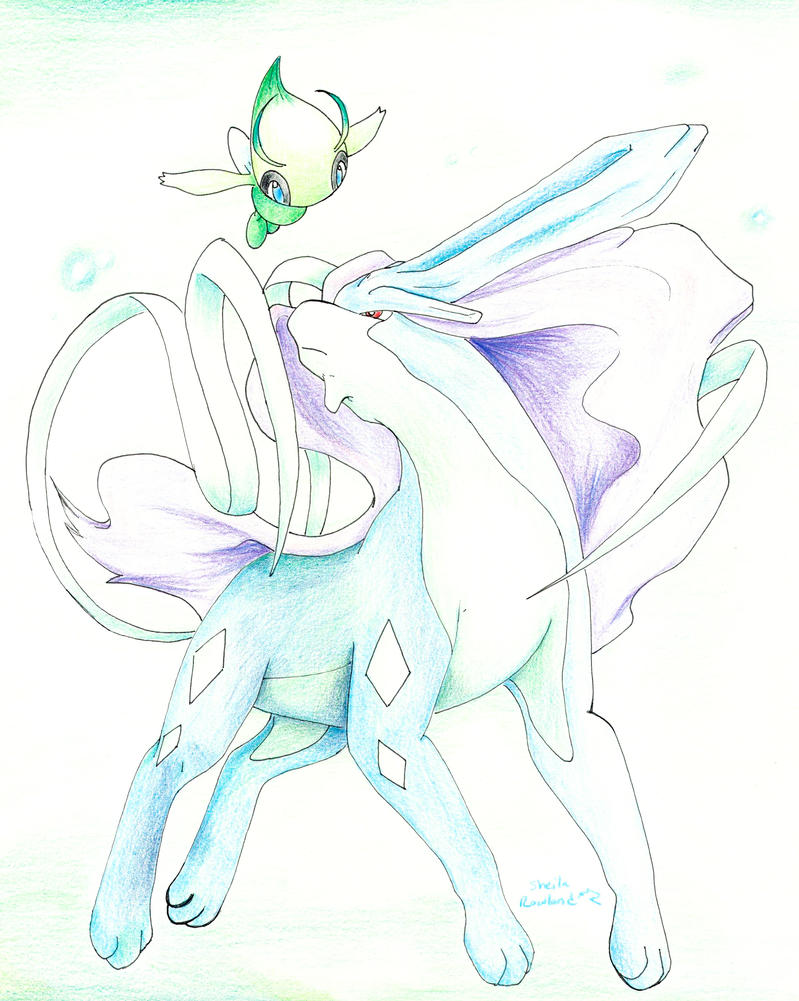 Celebi and Suicune by BlackCharizard006