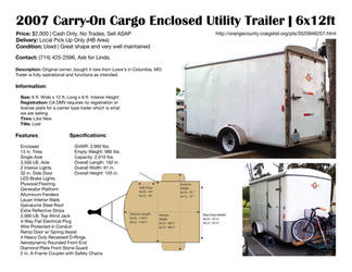 2007 Carry-On Cargo Enclosed Utility Trailer