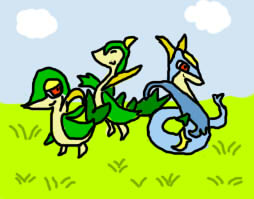 snivy and servine with... a shiny serperior? by TailTehEeveelution