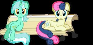 Lyra and BonBon on a Bench