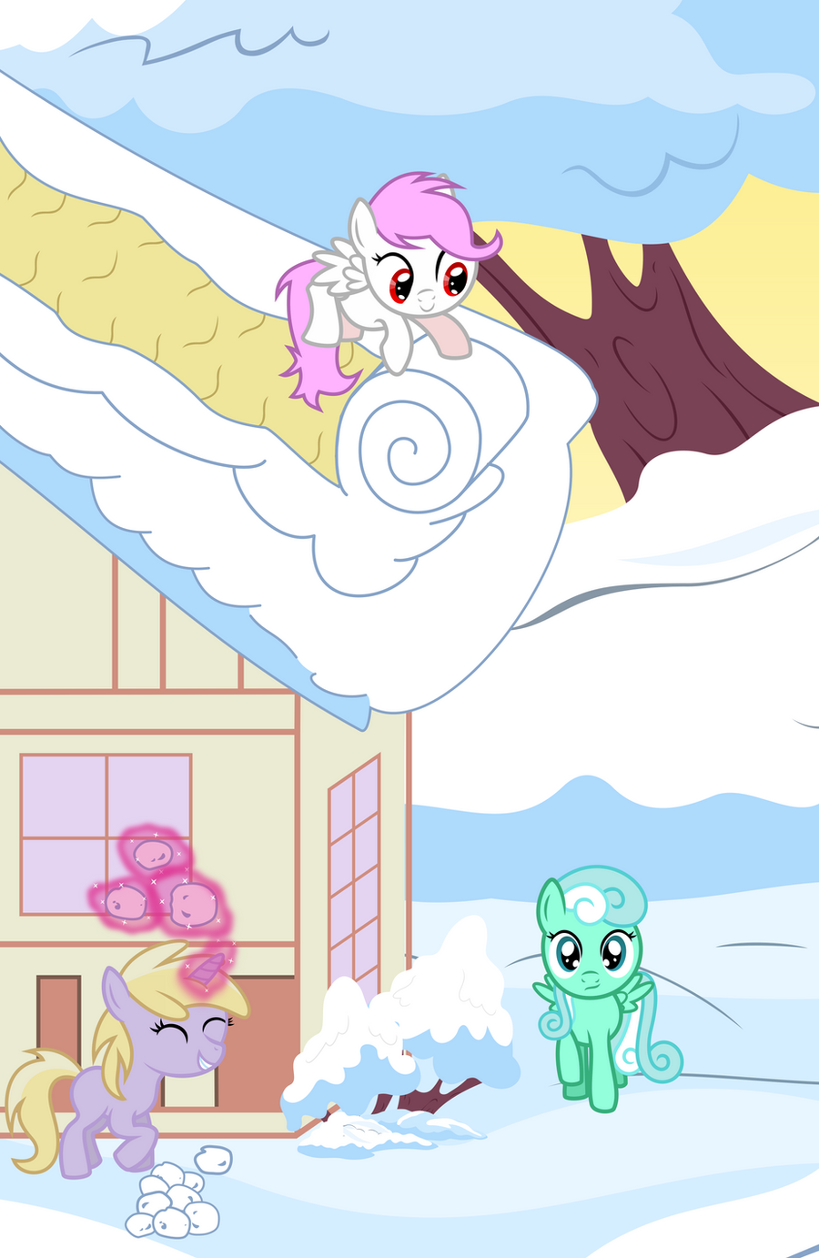 Sweet Song and Friends Play in the snow by Baka-Neku
